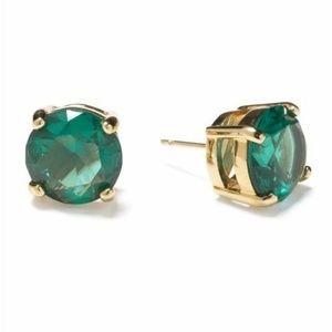 kate spade Rhinestone Stud Earrings Emerald Green